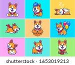 A Set Of Corgi Mascot Vector...