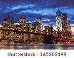 brooklyn bridge and manhattan... | Shutterstock . vector #165303149