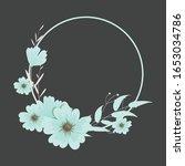 wreath flower vector  floral... | Shutterstock .eps vector #1653034786