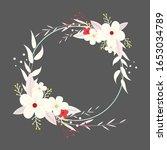 wreath flower vector  floral... | Shutterstock .eps vector #1653034789