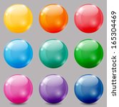 Set Of Glossy Colored Balls On...