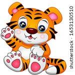 cute baby tiger cartoon waving | Shutterstock . vector #1653130510