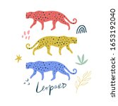 cute cartoon leopard flat style ... | Shutterstock .eps vector #1653192040