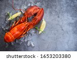 Fresh lobster food on a black...