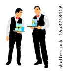 professional waiters holding... | Shutterstock .eps vector #1653218419