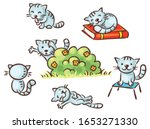 cute cartoon cat set  different ... | Shutterstock .eps vector #1653271330