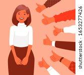 public approval  praise. happy... | Shutterstock .eps vector #1653277426