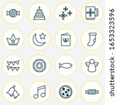 holiday icons set with... | Shutterstock .eps vector #1653323596
