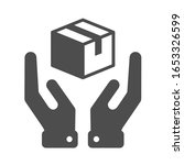 parcel box in hands vector icon ...