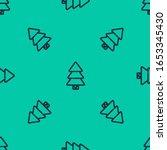 blue line christmas tree icon... | Shutterstock .eps vector #1653345430