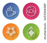 set line coffee cup  donut with ... | Shutterstock .eps vector #1653346489