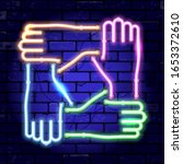 neon signboard joined hands... | Shutterstock .eps vector #1653372610