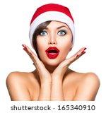Christmas Woman. Beauty Model...