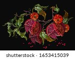 ripened pomegranate fruits and...   Shutterstock .eps vector #1653415039