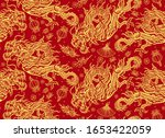Golden Chinese Dragons On A Red ...