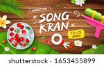 songkran festival bowl and gun...   Shutterstock .eps vector #1653455899