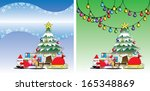 santa and reindeer on the... | Shutterstock .eps vector #165348869