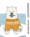 cute hand drawn polar bear in... | Shutterstock .eps vector #1653509899