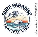 surf paradise text with palm... | Shutterstock .eps vector #1653513616