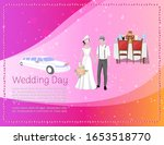 wedding day banner with newly... | Shutterstock .eps vector #1653518770