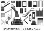staircase and lift vector black ... | Shutterstock .eps vector #1653527113