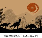 dinosaurs silhouettes in... | Shutterstock .eps vector #165356954