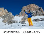Alpine Skier Stand On Slope In...