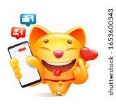 yellow cat cartoon character... | Shutterstock .eps vector #1653600343