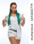 beautiful european girl with...   Shutterstock . vector #1653602779