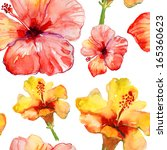 seamless pattern with  hibiscus ... | Shutterstock . vector #165360623