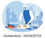 cartoon grey haired old senior... | Shutterstock .eps vector #1653625729