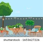 back patio with garden...   Shutterstock .eps vector #1653627226