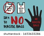 say no to plastic bags sign for ... | Shutterstock .eps vector #1653633286