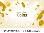 Realistic Gold Coins Explosion. ...