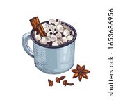 hand drawn blue cup of cocoa... | Shutterstock .eps vector #1653686956