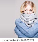 portrait of blond winter beauty ...   Shutterstock . vector #165369074