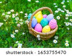 Easter Eggs In A Basket In The...