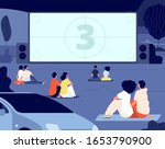 open air cinema. outdoor relax  ... | Shutterstock .eps vector #1653790900