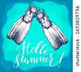 flippers. hand drawn summer... | Shutterstock .eps vector #1653829756