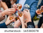 glass of white wine and... | Shutterstock . vector #165383078