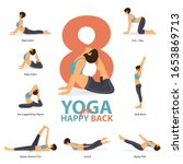 infographic of 8 yoga poses for ...   Shutterstock .eps vector #1653869713
