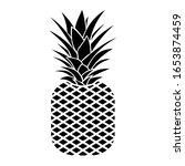 black silhouette of a pineapple | Shutterstock .eps vector #1653874459