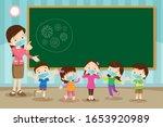 teacher and children wear a... | Shutterstock .eps vector #1653920989