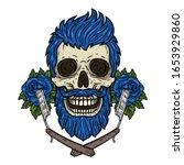 Barber Skull. Hipster Skull...