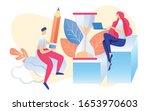 cartoon woman sitting on bar...   Shutterstock .eps vector #1653970603