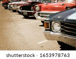 Classic Cars Parked In A Row On ...