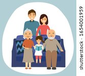 happy family sitting on sofa at ... | Shutterstock .eps vector #1654001959