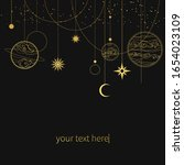 golden garland with planets and ... | Shutterstock .eps vector #1654023109