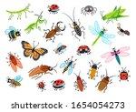 big set of cartoon beetles.... | Shutterstock .eps vector #1654054273