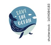 save the ocean. blue whale and... | Shutterstock .eps vector #1654084183